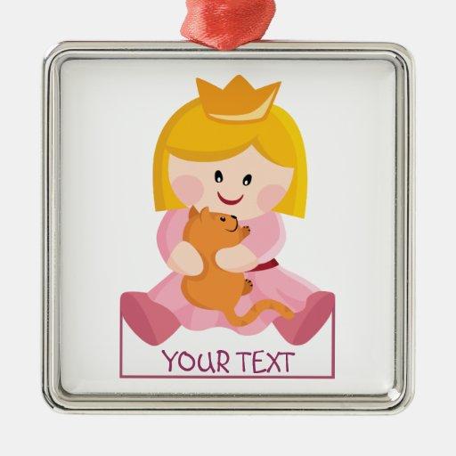 Pequeña princesa con el gato, pelo rubio adorno navideño cuadrado de metal