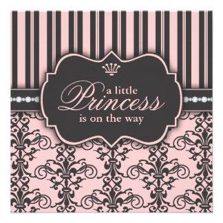 Pequeña princesa en la fiesta de bienvenida al beb invitacion personalizada