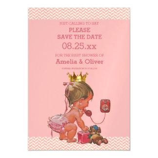 Pequeña princesa en reserva del teléfono los invitaciones magnéticas