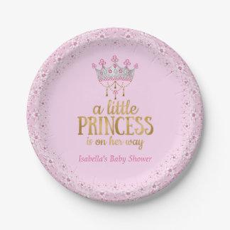 Pequeña princesa en su fiesta de la tiara del oro platos de papel