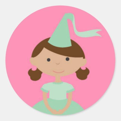 Pequeña princesa etiquetas redondas