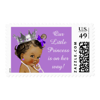 Pequeña princesa étnica púrpura timbres postales