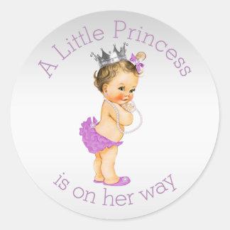 Pequeña princesa fiesta de bienvenida al bebé de pegatina redonda