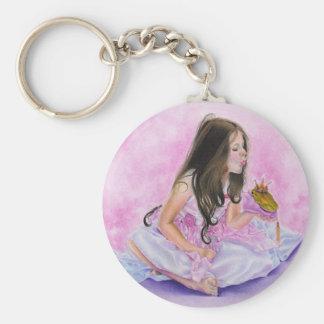 Pequeña princesa Kissing Frog Keychain Llavero Redondo Tipo Pin