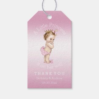 Pequeña princesa rosada fiesta de bienvenida al etiquetas para regalos