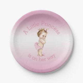 Pequeña princesa rosada fiesta de bienvenida al plato de papel de 7 pulgadas