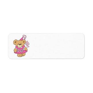 Pequeña princesa rosada linda Bear Etiqueta De Remitente
