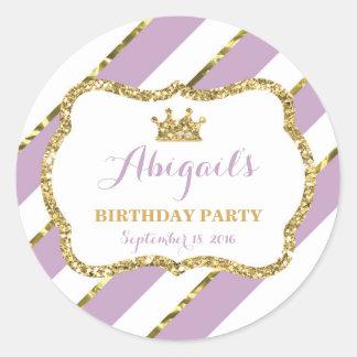 Pequeña princesa Sticker, púrpura, oro Pegatina Redonda