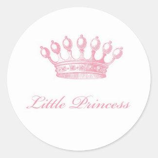 Pequeña princesa Stickers Etiqueta Redonda