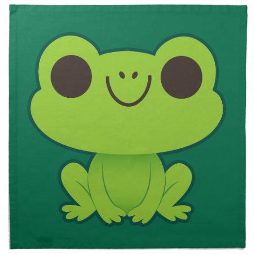 Pequeña rana verde linda servilletas de papel