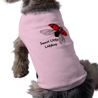 Pequeña ropa dulce del perro de la mariquita playera sin mangas para perro