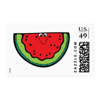 pequeña sandía divertida timbre postal