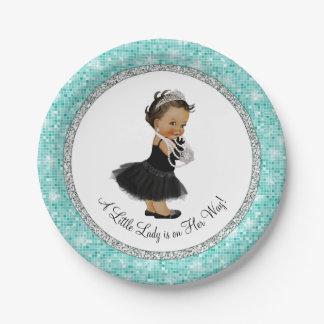 Pequeña señora fiesta de bienvenida al bebé de la platos de papel