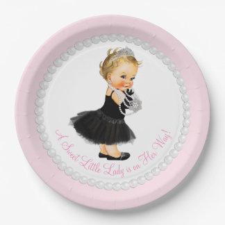 Pequeña señora fiesta de bienvenida al bebé platos de papel