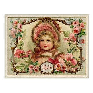 Pequeña señora Vintage Reproduction Postcard Postales