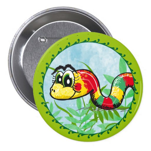 Pequeña serpiente linda - botón verde