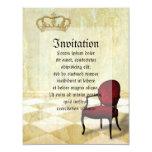 Pequeña silla real con la corona invitación 10,8 x 13,9 cm