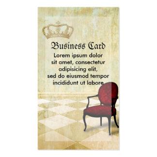 Pequeña silla real con la corona tarjetas de visita