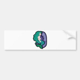 pequeña sirena linda etiqueta de parachoque