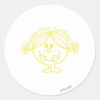 Pequeña Srta. amarilla brillante Sunshine Pegatina Redonda