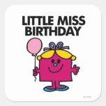 Pequeña Srta. Birthday With Pink Balloon Pegatina Cuadrada