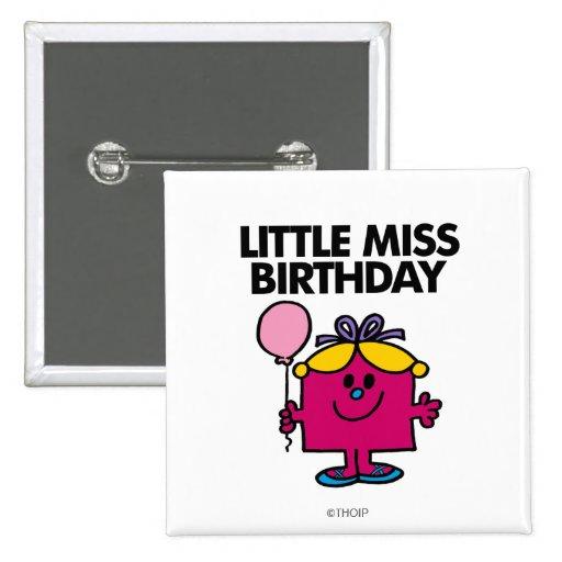 Pequeña Srta. Birthday With Pink Balloon Pin Cuadrado