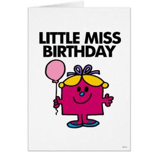 Pequeña Srta. Birthday With Pink Balloon Tarjeta Pequeña