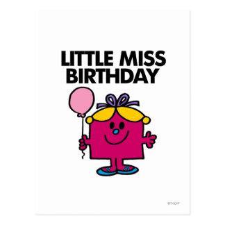 Pequeña Srta. Birthday With Pink Balloon Postal