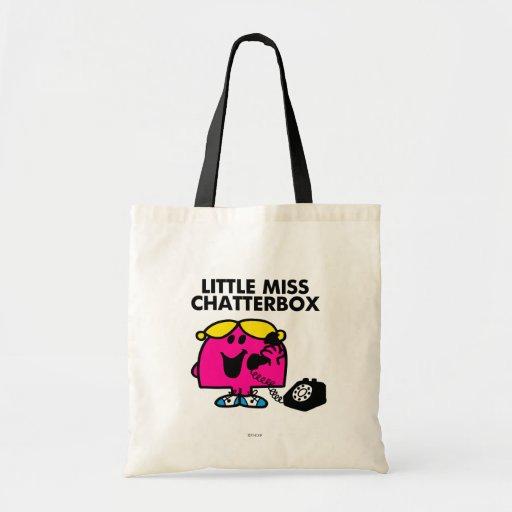 Pequeña Srta. Chatterbox y teléfono negro Bolsa Tela Barata