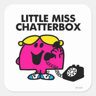 Pequeña Srta. Chatterbox y teléfono negro Pegatina Cuadrada