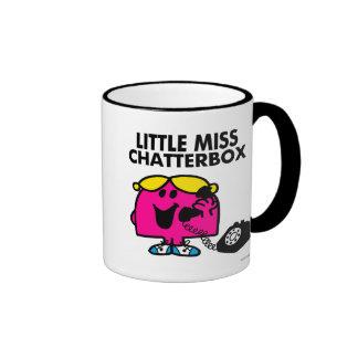 Pequeña Srta. Chatterbox y teléfono negro Taza A Dos Colores