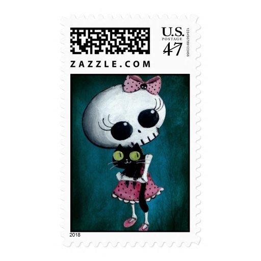 Pequeña Srta. Death - belleza de Halloween Estampilla