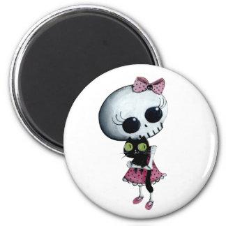 Pequeña Srta. Death - belleza de Halloween Imán Redondo 5 Cm