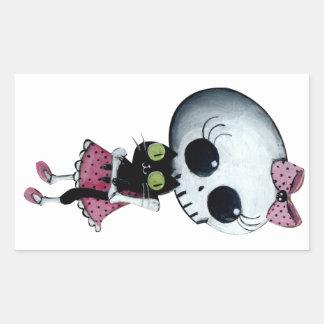 Pequeña Srta. Death - belleza de Halloween Pegatina Rectangular