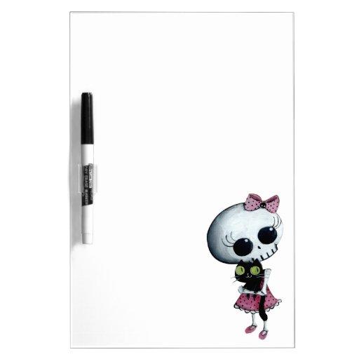 Pequeña Srta. Death - belleza de Halloween Pizarras Blancas De Calidad