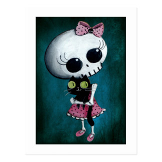 Pequeña Srta. Death - belleza de Halloween Postal