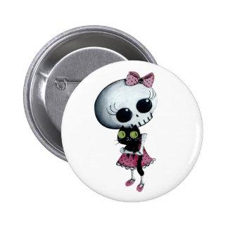 Pequeña Srta. Death - belleza de Hallowen Pin Redondo 5 Cm