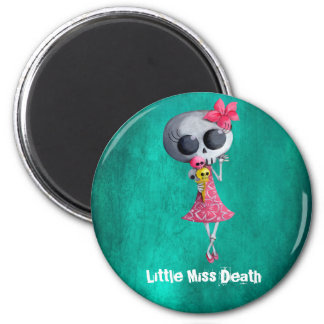 Pequeña Srta. Death con helado de Halloween Imán Redondo 5 Cm