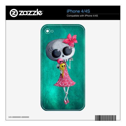 Pequeña Srta. Death con helado de Halloween iPhone 4S Skins