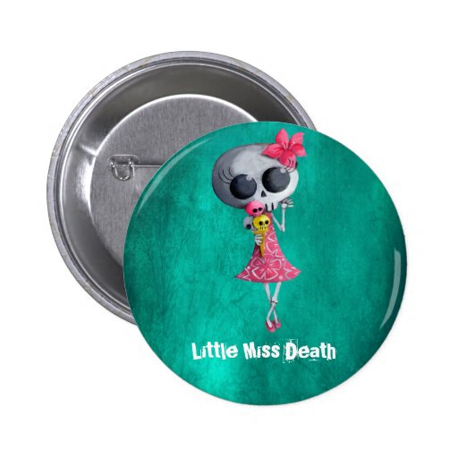 Pequeña Srta. Death con helado de Halloween Pin Redondo De 2 Pulgadas