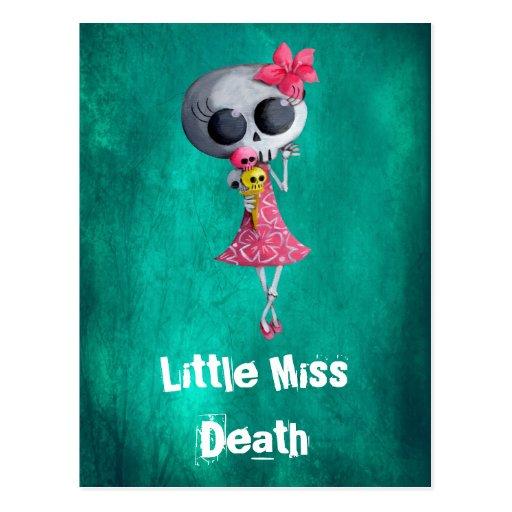 Pequeña Srta. Death con helado de Halloween Postal