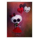 Pequeña Srta. Death Valentine Girl Felicitación