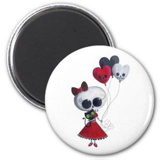 Pequeña Srta. Death Valentine Girl Imán Redondo 5 Cm