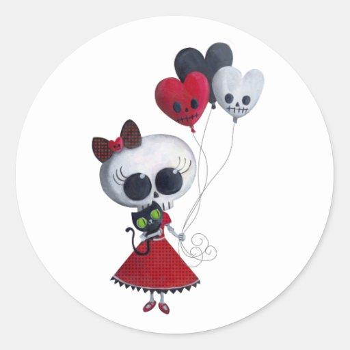 Pequeña Srta. Death Valentine Girl Pegatina Redonda