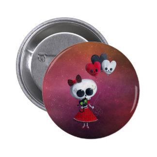 Pequeña Srta. Death Valentine Girl Pin Redondo De 2 Pulgadas