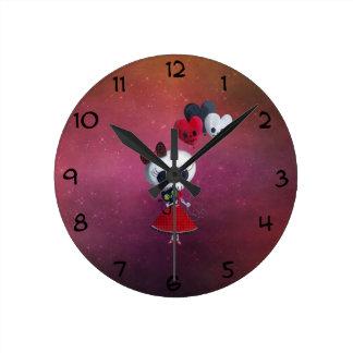 Pequeña Srta. Death Valentine Girl Reloj Redondo Mediano