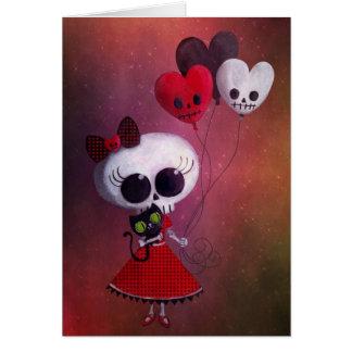 Pequeña Srta. Death Valentine Girl Tarjeta De Felicitación