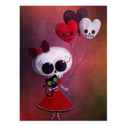Pequeña Srta. Death Valentine Girl Postal