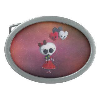 Pequeña Srta. Death Valentine Hebilla De Cinturón Oval