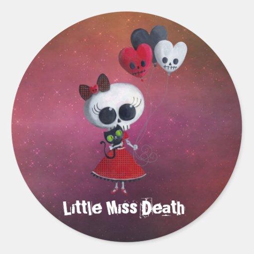 Pequeña Srta. Death Valentine Pegatina Redonda